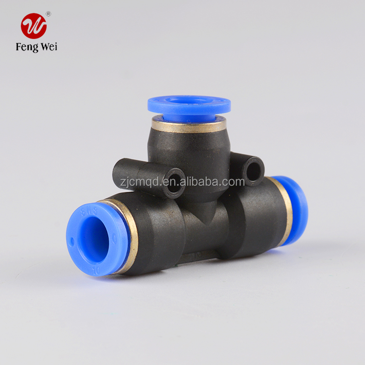 Pneumatic One Touch Tube Connector Fittings; Plastic Tee Connector; truck accssory,auto parts