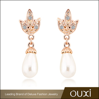 OUXI 2016 18K Gold Plated Stud Dangle Pearl Cubic Zirconia Stud Earrings