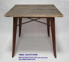 Metal Dining Table with teak wood top