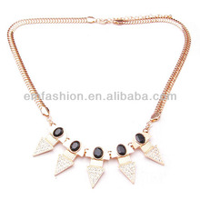 New Design Fashion Personality Black Gem Gold Alloy Arrow Women's Chain Necklace