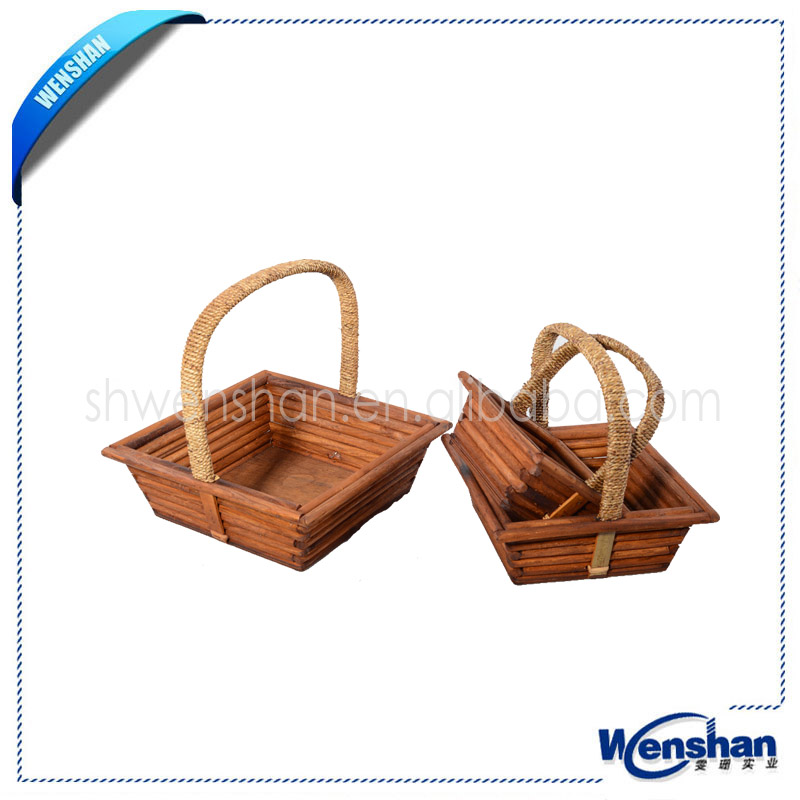 wood baskets wholesale with handle