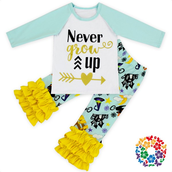 Football Printing Reglan Ruffle Shirt Long Leggings Pants Hair Bow Necklace Set Boutique Girls Football Outfits For Kids