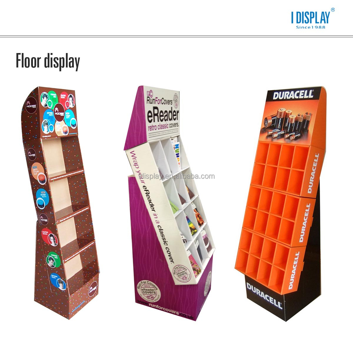 rotating 3 sides cardboard display with peg hooks cardboard floor display