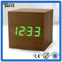 Hot selling cube digital led wooden Desk clocks with alarm