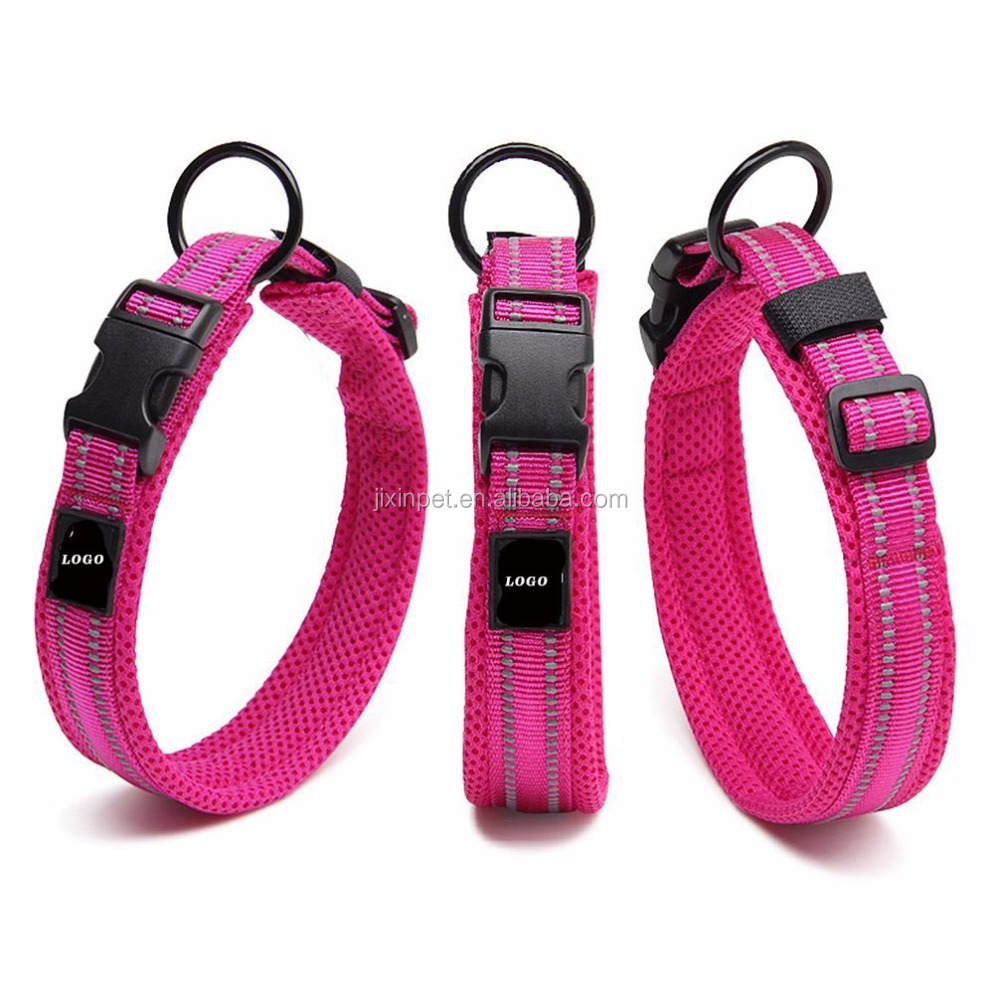 3M Reflective Adjustable Nylon Mesh Padded Pet Dog Collar