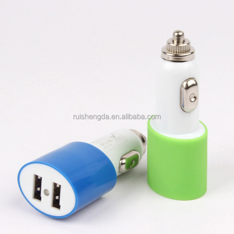 Dual USB Car Charger for iPhone and All Brands of Mobile Phones, Tablet PC, Digital Camera, GPS, PSP, MP4