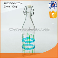 530ml glass milk bottle with blue bottle and plastic ball clip