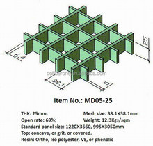 GRP fiberglass ASTM E-84 test passed ABS certficated 13 to 63mm thick molded frp grating