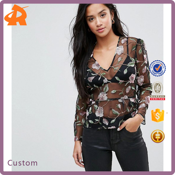 customize black embroidery blouse tops women,new design fancy blouse designs