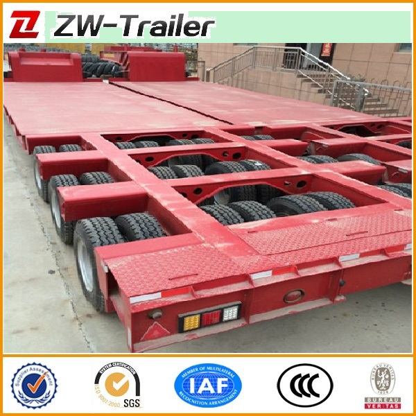 3 lines 6 axles tyre exposed low gravity center lowbed truck semi trailer for large&non-dismantle objects with hydraulic ladder