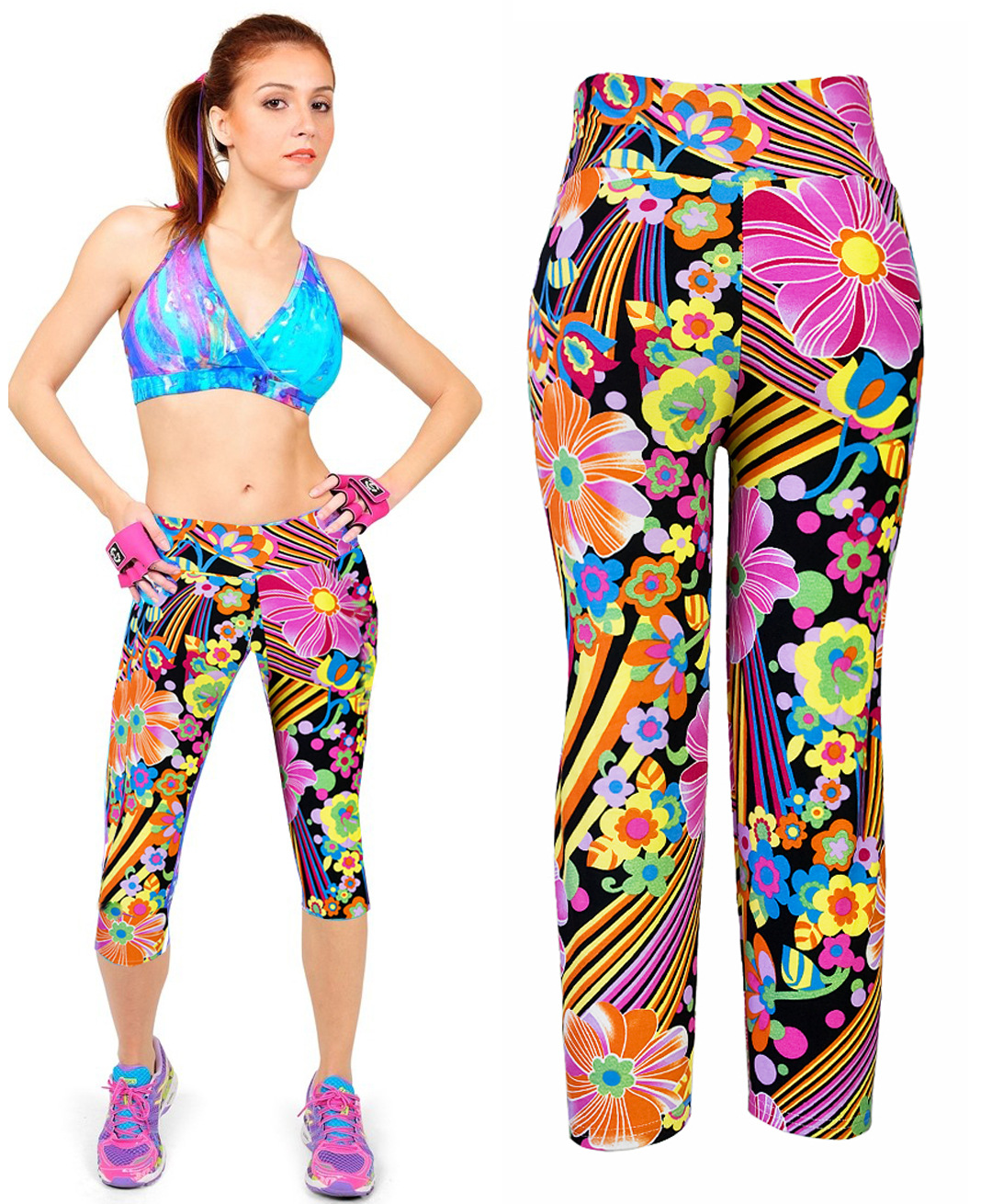 Women Capri Leggings High Waist Printing Yoga Fitness Pants