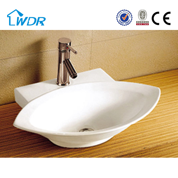 Hotel elegant chaoan vanity porcelain china washroom leaf shape wash basin