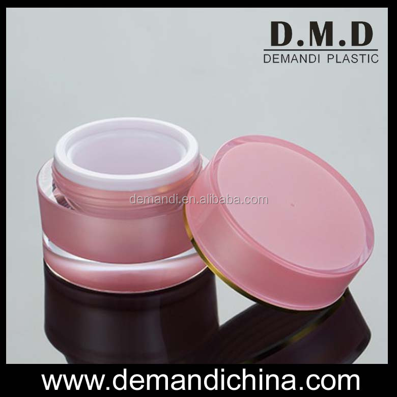 Colored acrylic cream jars round pink 5g 10g 15g 30g 50g white plastic cosmetic jar