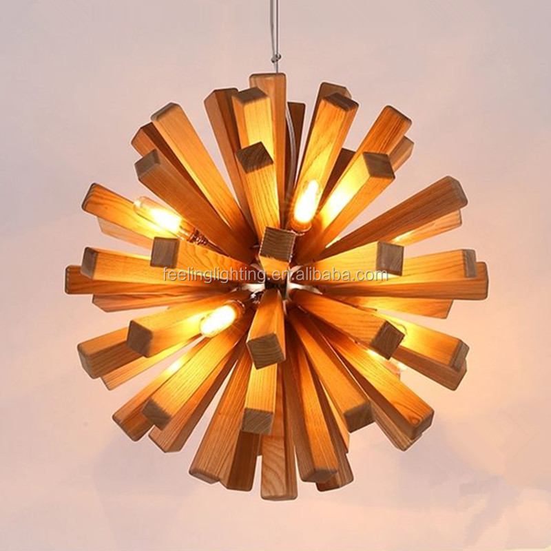 Nordic contracted ikea dining room dandelion wood pendant lamp/lights with free led bulb