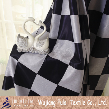 Cationic Polyester Blackout Black White Check Fabric