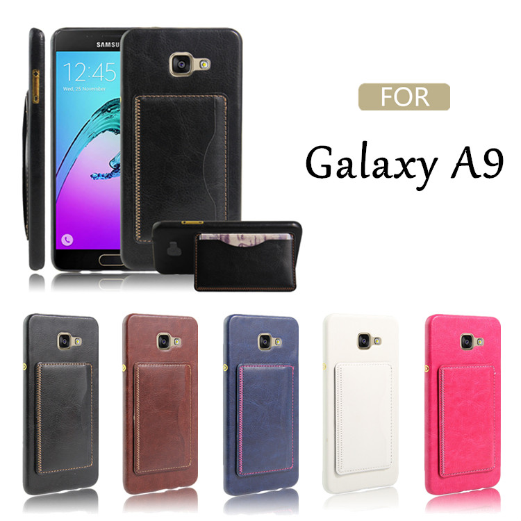 hot selling 2016 amazon protective phone accessories stents stand leather back cover case for samsung galaxy a9 with card slot
