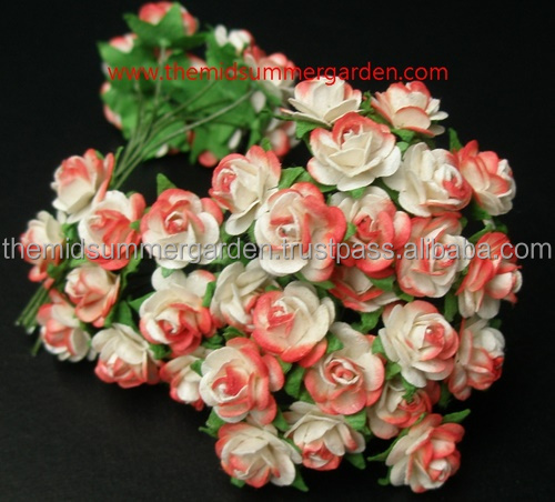 10 mm paper rose flower for scrapbook, embellishment, wedding decor, DIY card making and art projects.