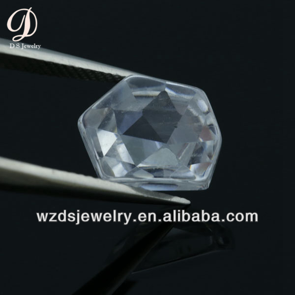 Wholesale AAA Special Hexagon Shape White Lab Synthetic Cubic Zircon Stone CZ Gems Loose Gemstone Beads for Jewelry