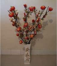 artificial dried orange peony flower plant artificial dried orange peony flower plant 100cmH Willow Branches with peony