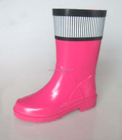 2015 new product shiny pink raining shoes for kids girls rubber rain boots