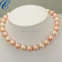 Chuvora Genuine Pink Cultured Fresh Water Pearl Thread Cluster Necklace