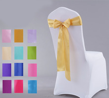 Fancy colored cheap chair cover decoration bow satin fabric birthday wedding chair sashes