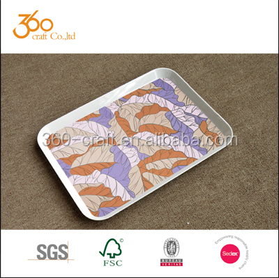 2015 BEST SELLER melamine tray with colored design / melamine serving tray / melamine tray set