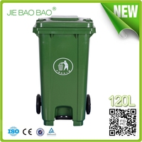 2015 outdoor kitchen dustbin logo 120 Liter Plastic construction public trash container home usage With Pedal