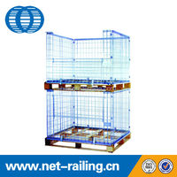 Stackable folding metal wire mesh Pallet cage with wooden pallet