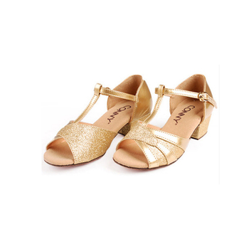 Girls Gold High Quality Salsa Children Irish Latin Dance Ballroom  Shoes