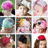 Wholesale Kids Hair Accessories Lovely Elastic Flower Feather Baby Headband