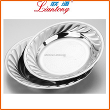 FREE SAMPLE silver stainless steel round tray with embossing flower