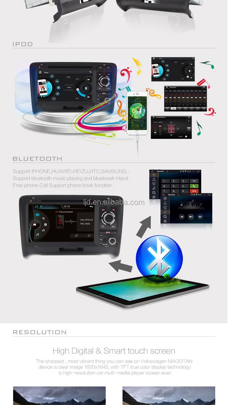 Chinese car audio dvd player for a/ u/ d/ i/ tt