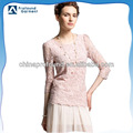2014 Latest fashion elegant double layers lining long sleeve lace t shirts for women
