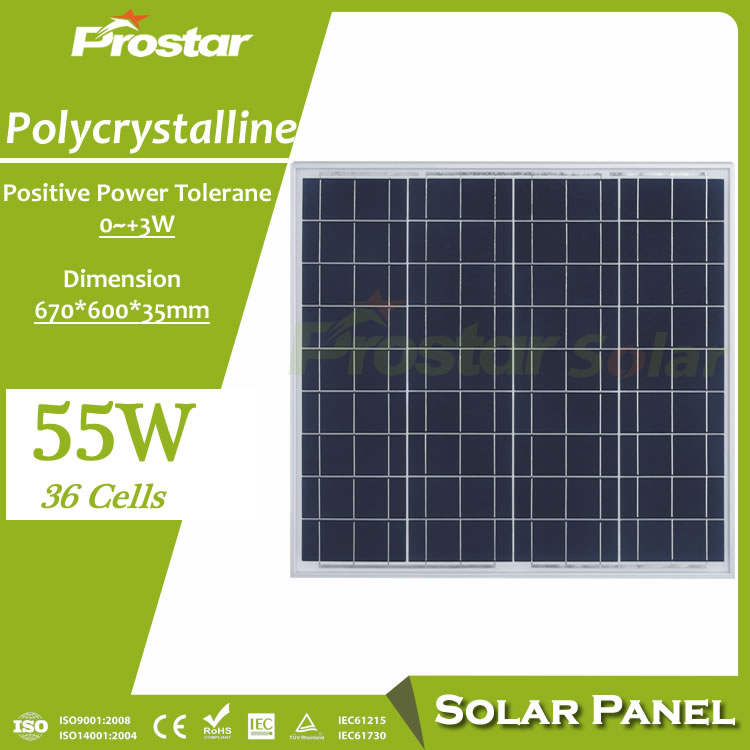 Polycrystalline silion 12v 55w solar panel price cost per watt for advantages of solar energy products