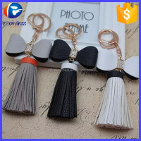 Luxury Woman Bag Charm Crystal Bowknot Keychain Leather Tassel Key Ring