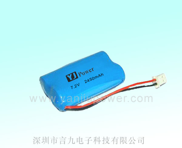 7.2v 2450mah Rechargeable Cylindrical Lithium Battery pack