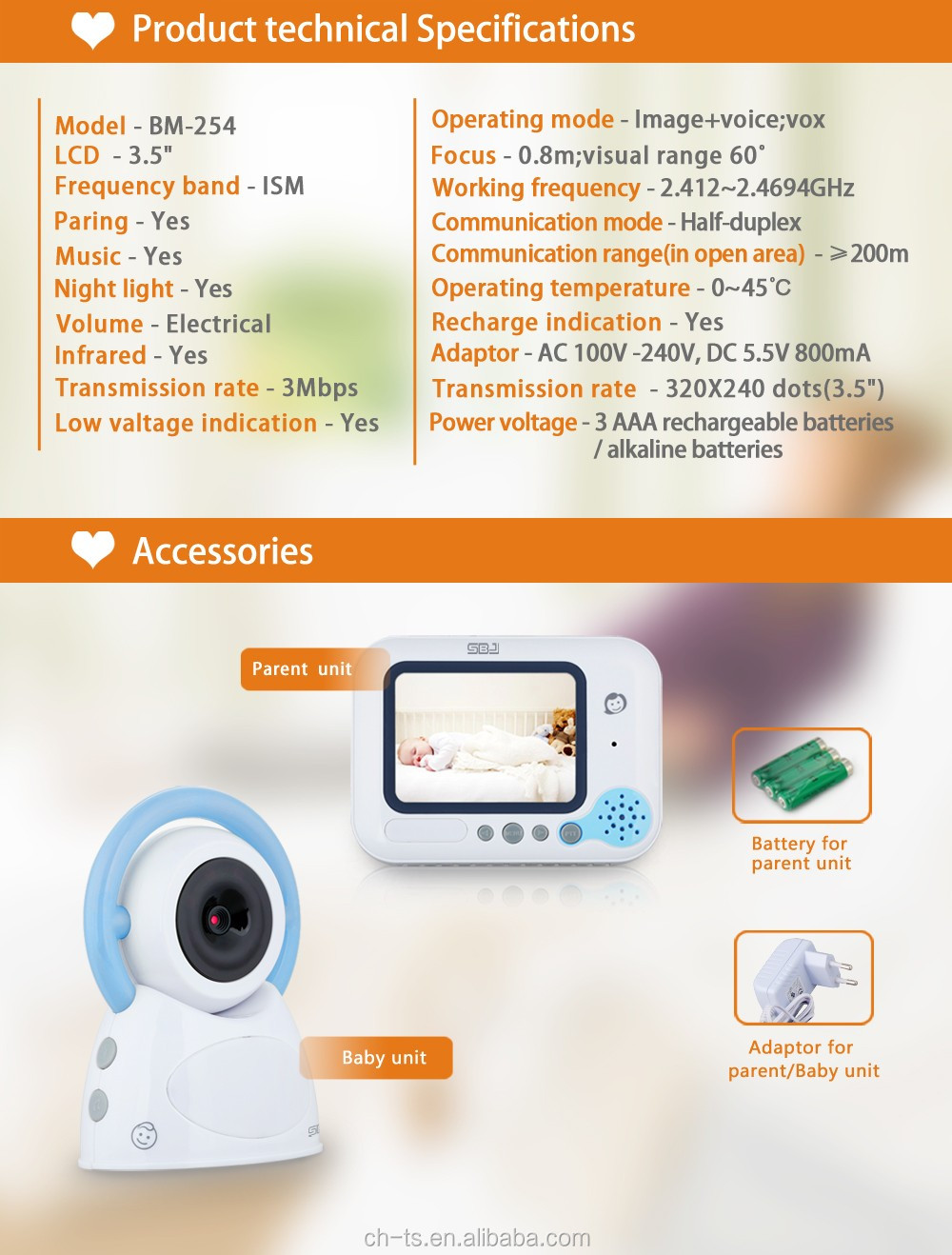 "3.5"" Color LCD Digital Video Baby Monitor with Music Lullabies, Night Vision, 2 way communication"