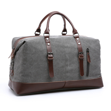 Genuine leather decorated large capacity vintage leather canvas travel bag weekender luggage duffle bag