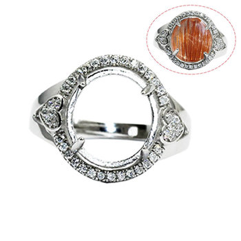 Beadsnice ID30646 925 sterling silver ring sets removable US ring size 7 to 9 fit 18.5x16mm oval sold by PC jewelry ring finding