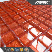 Crystal Glass Mosaic Tile Glitter Red