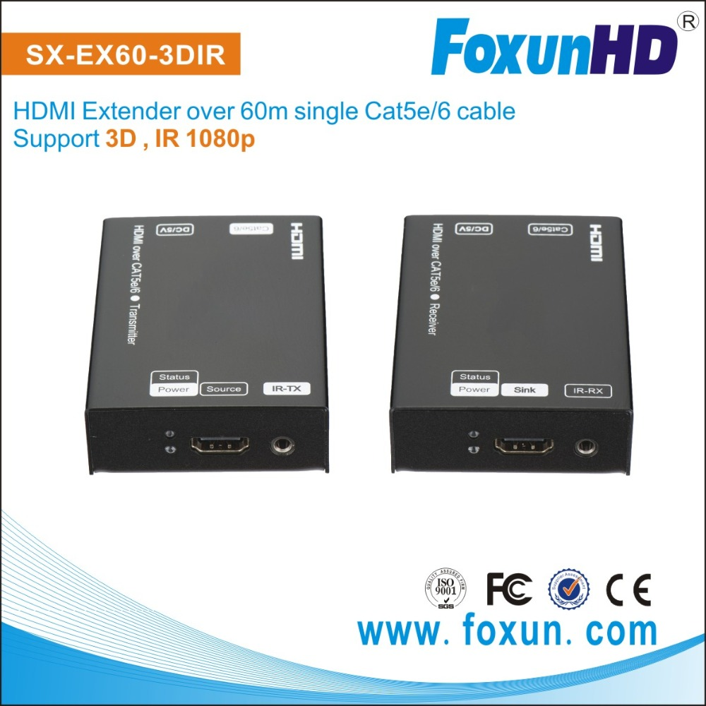 Full hd 1080P rj45 Extender 60m HDMI transmitter and receiver