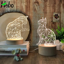 Wholesale 3D Illusion Effect Cute Cat Wood Base Lamp Lamparas 3D Kids Night Lights