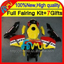 BodyInjection For HONDA CBR 600RR 600 RR 05 06 Repsol yellow 25CL60 CBR600 RR 05-06 F5 CBR600RR 2005 2006 RED BLACK Fairing