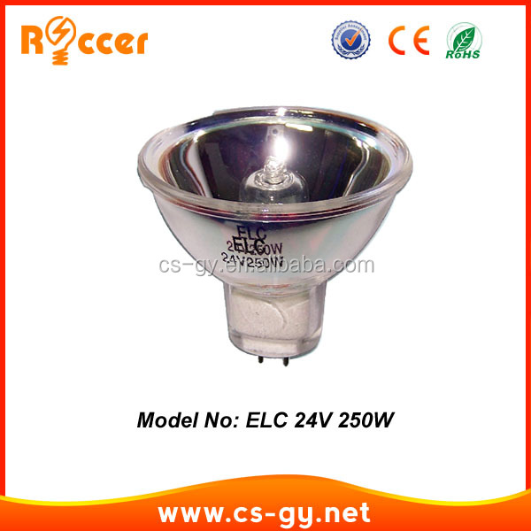 high quality lamp on china tungsten halogen projection lamp bulb gx5.3 3300k ELC 250W 24V