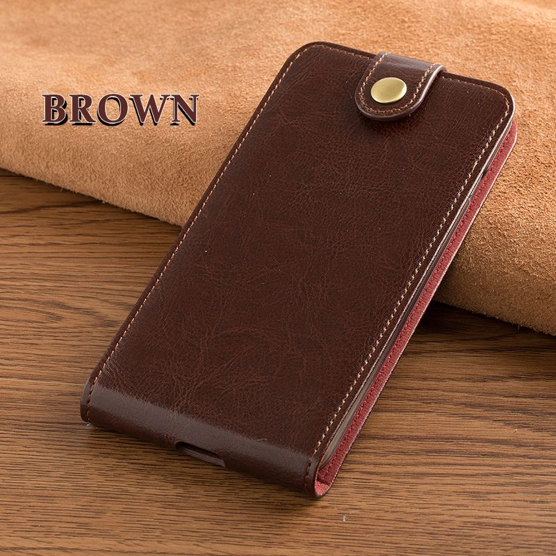 "Card slot genuine leather case for Meizu meilan <strong>U10</strong> 5.0"" vertical button flip phone accessories cover"