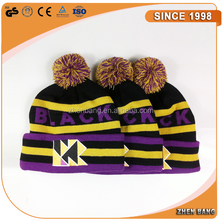 Custom Design popular pompom knit hat wholesale Crochet knitted animal hat