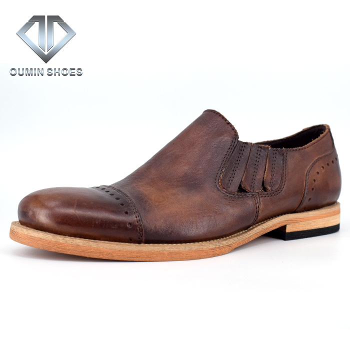 Men vintage casual leather loafer shoes from china wholesale small quantity