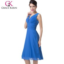 Grace Karin Sexy Sleeveless V-Neck Chiffon Royal Blue Mother Of The Bride Dress CL6218