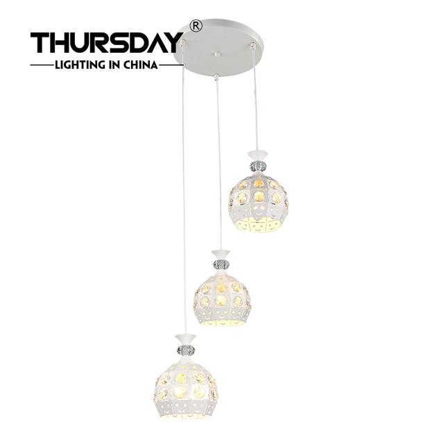 Simple Modern Restaurant Bar Rib Thread Hanging Lamp Pendant Light Chandelier White